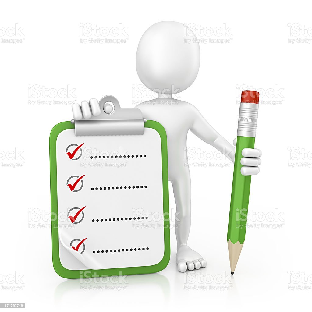 character and checklist royalty-free stock photo