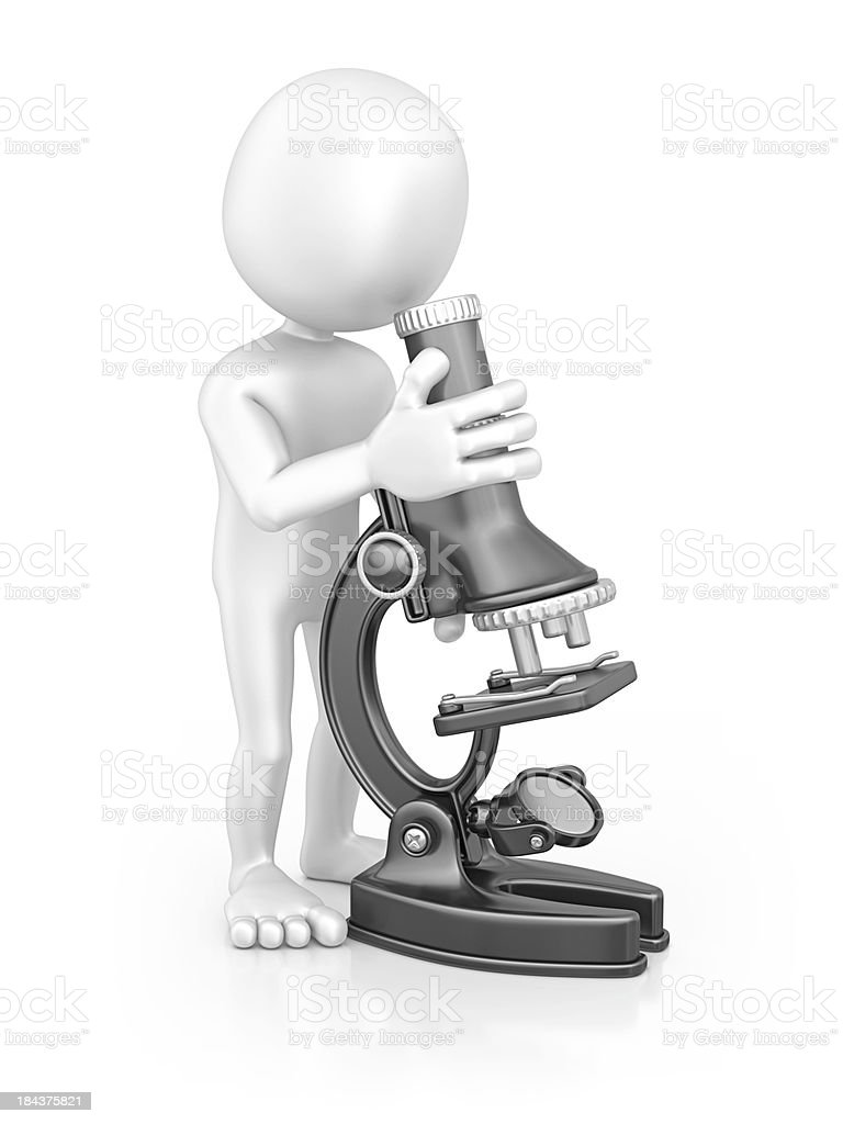 character and microscope royalty-free stock photo