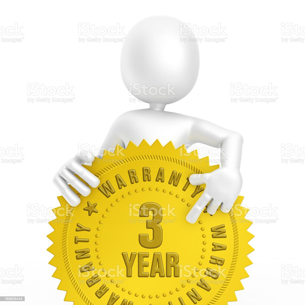 character and three year warranty label royalty-free stock photo