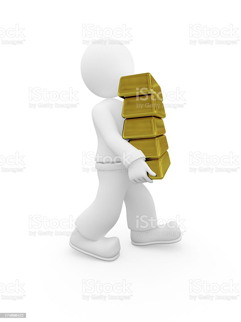 3D character bears five ingots of gold. royalty-free stock photo