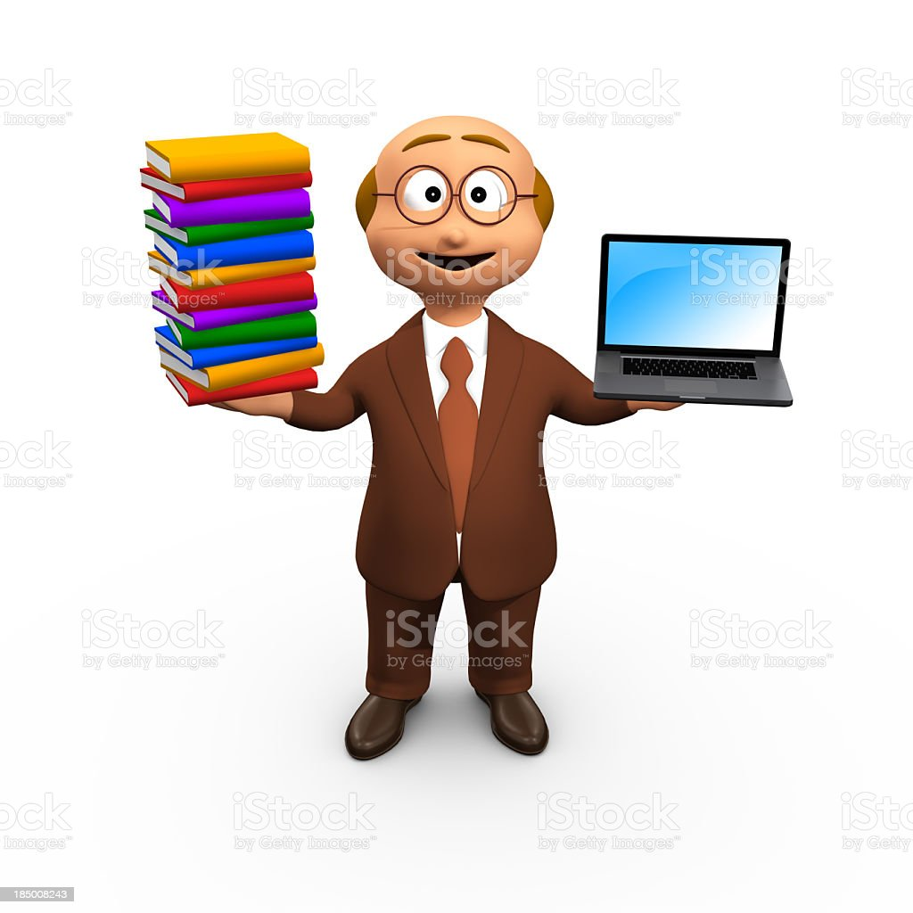 3D Character Compares Books With Computer royalty-free stock photo