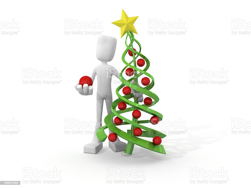 3D character decorating xmas tree. royalty-free stock photo