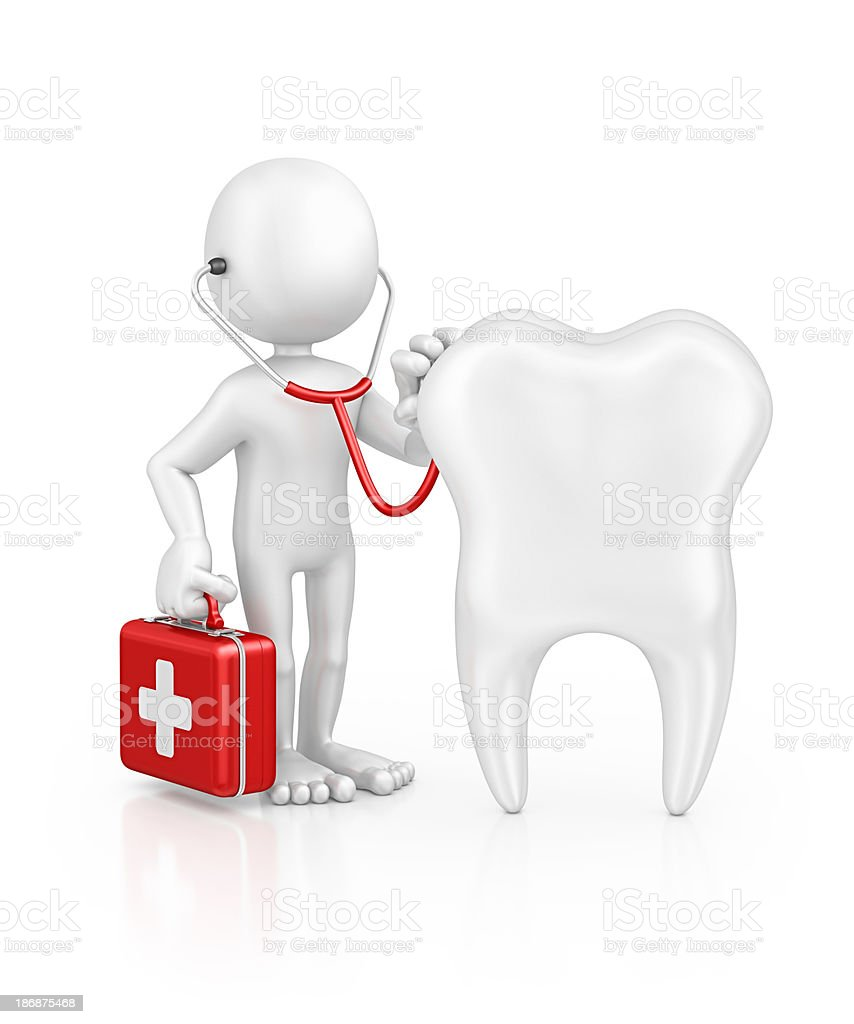 character doctor examine tooth stock photo