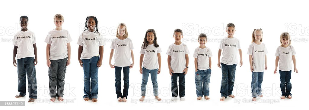Character education traits on t-shirts stock photo