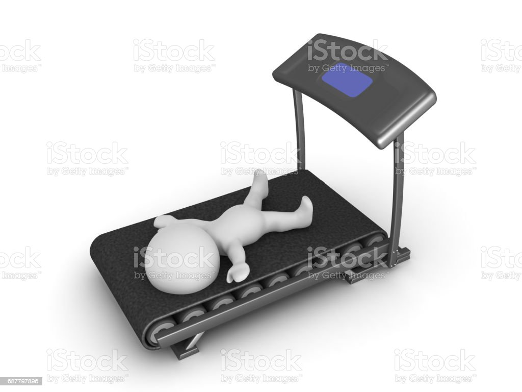 3D Character exhausted from working out on treadmill stock photo