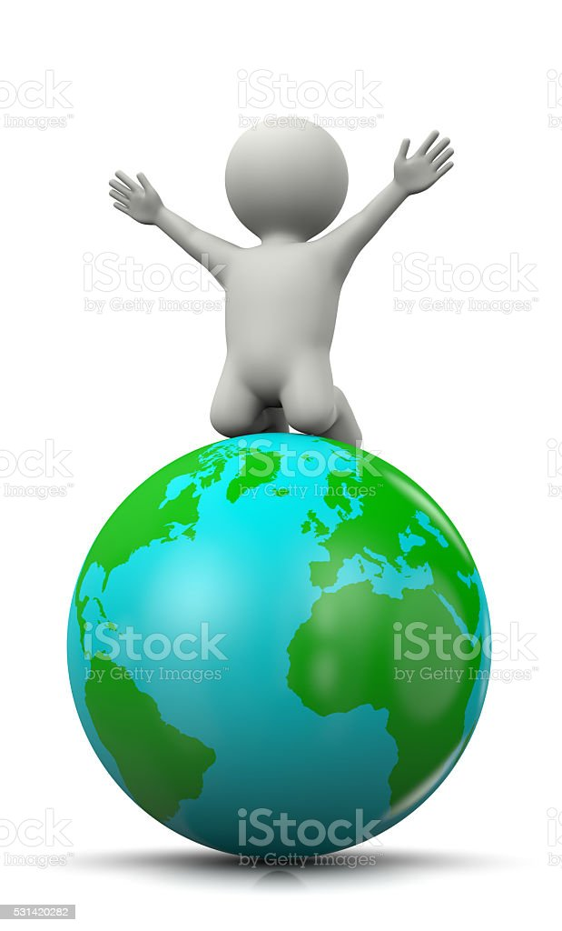 3D Character Exulting on top of the World stock photo