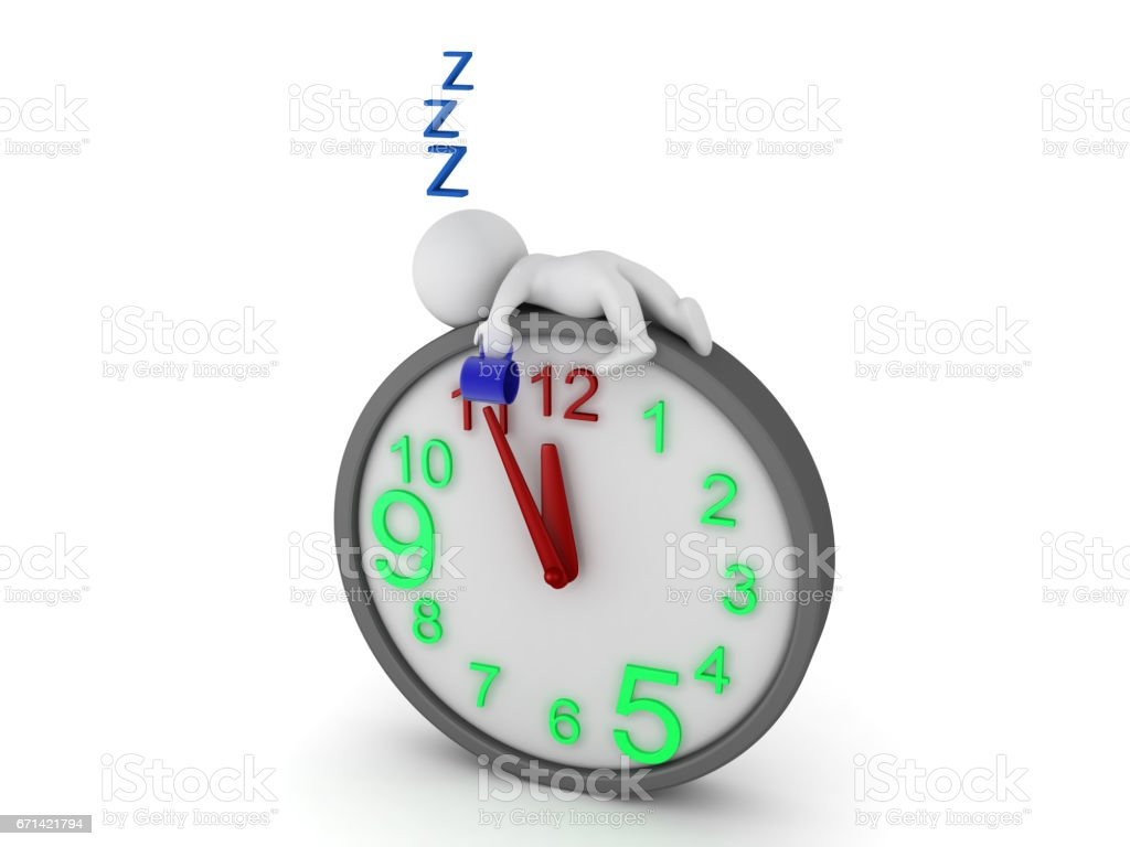 3D Character falling asleep on top of giant clock stock photo