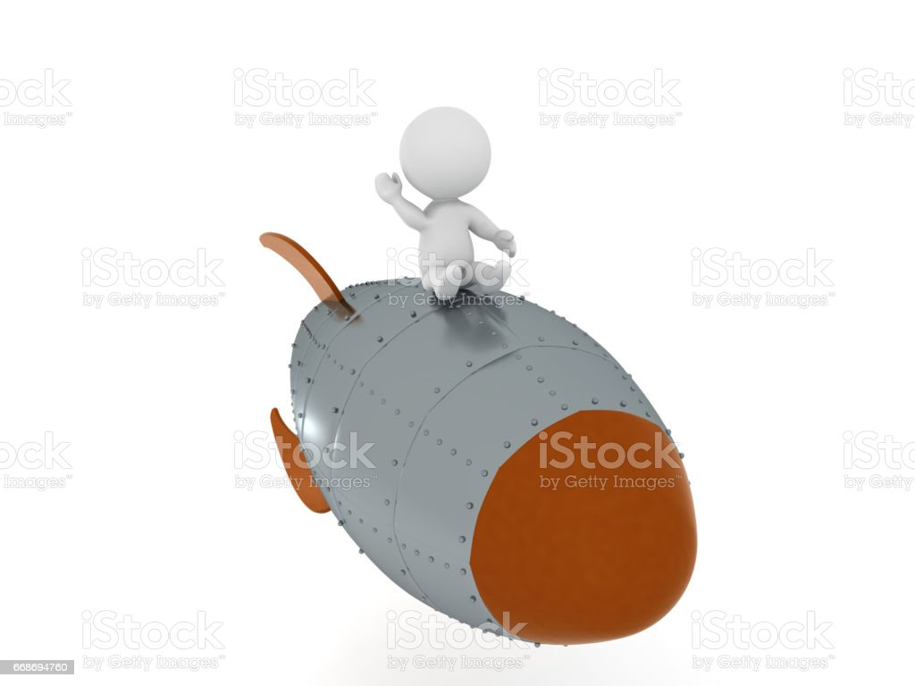 3D Character flying on retro looking rocket and waving his hand stock photo