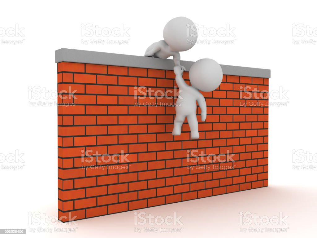 3D Character helping succesfully another one get over a wall stock photo