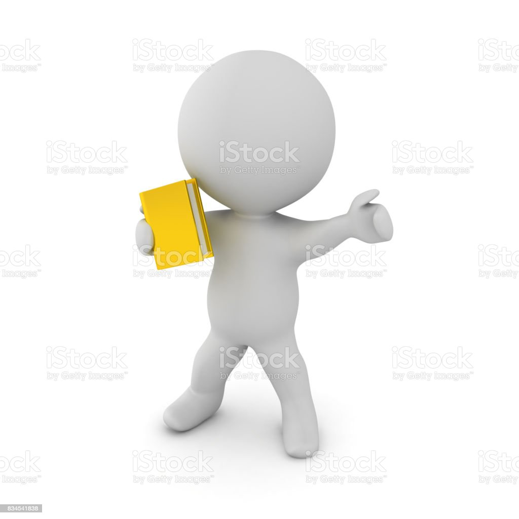 3D Character holding a book as a weapon and pointing in front stock photo