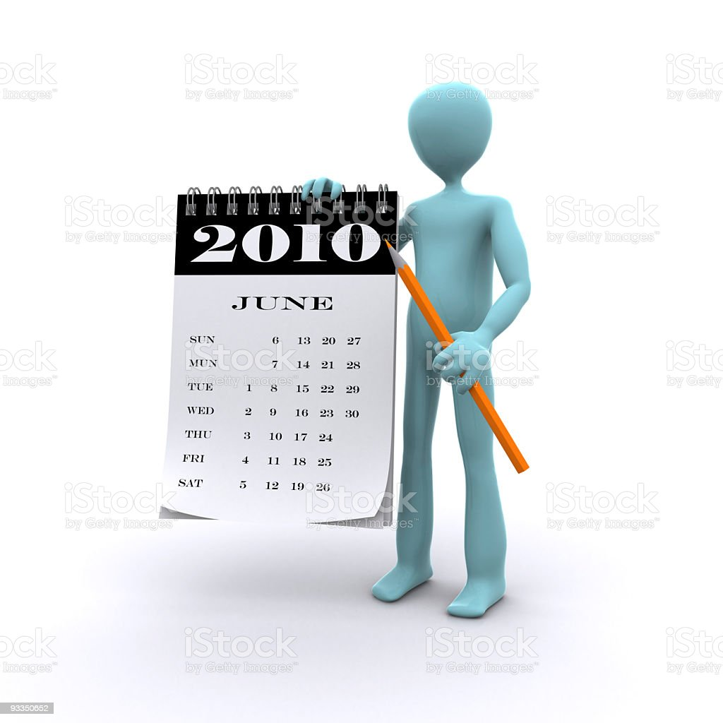 character holding calendar for 2010 royalty-free stock photo