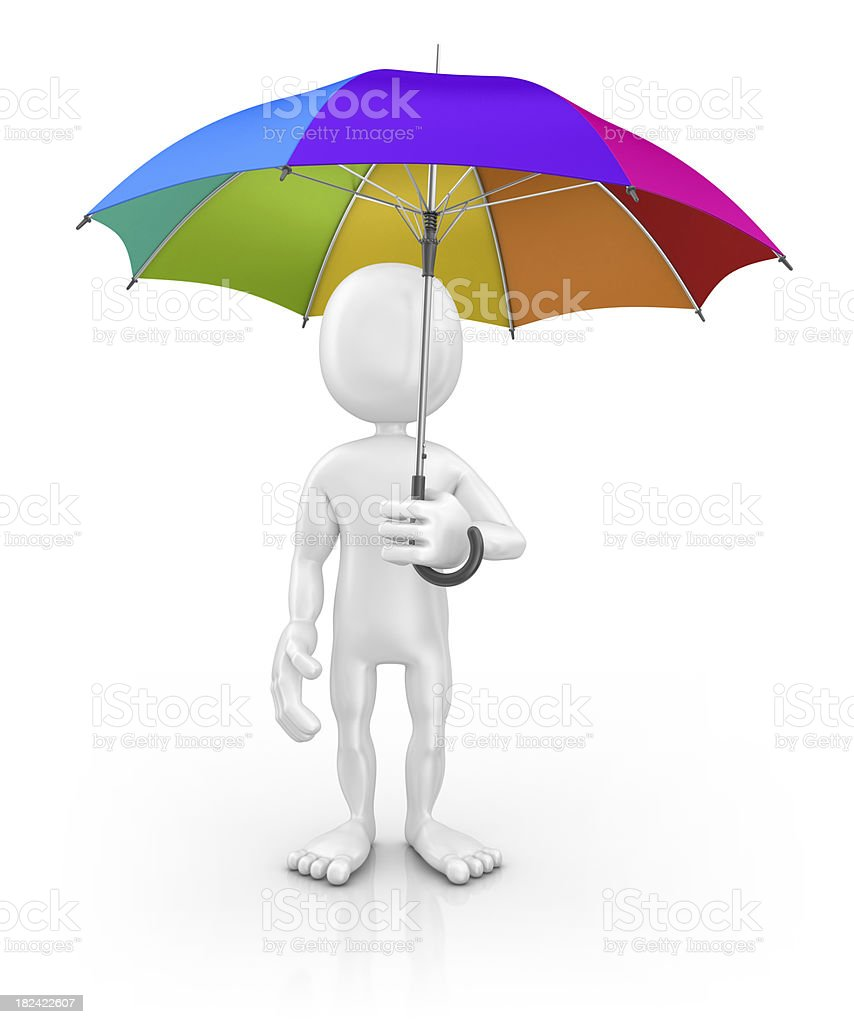 character holding colorful umbrella royalty-free stock photo