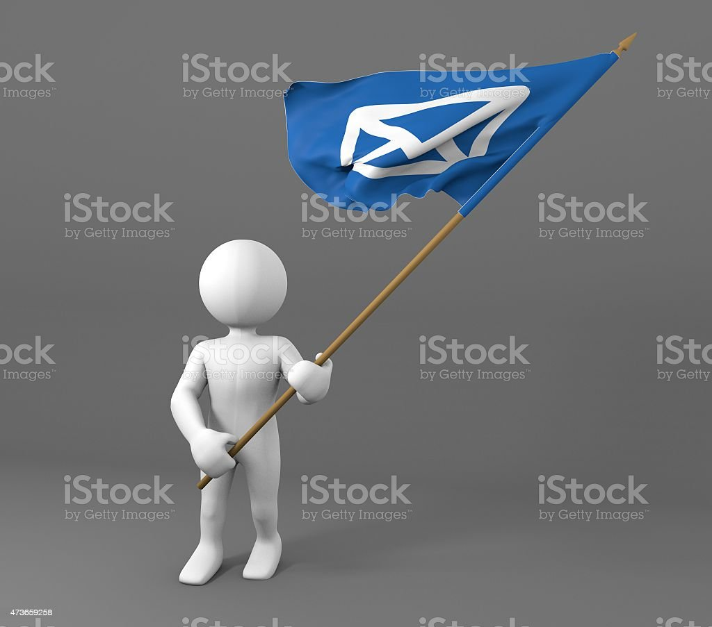 Character holding envelope icon flag stock photo