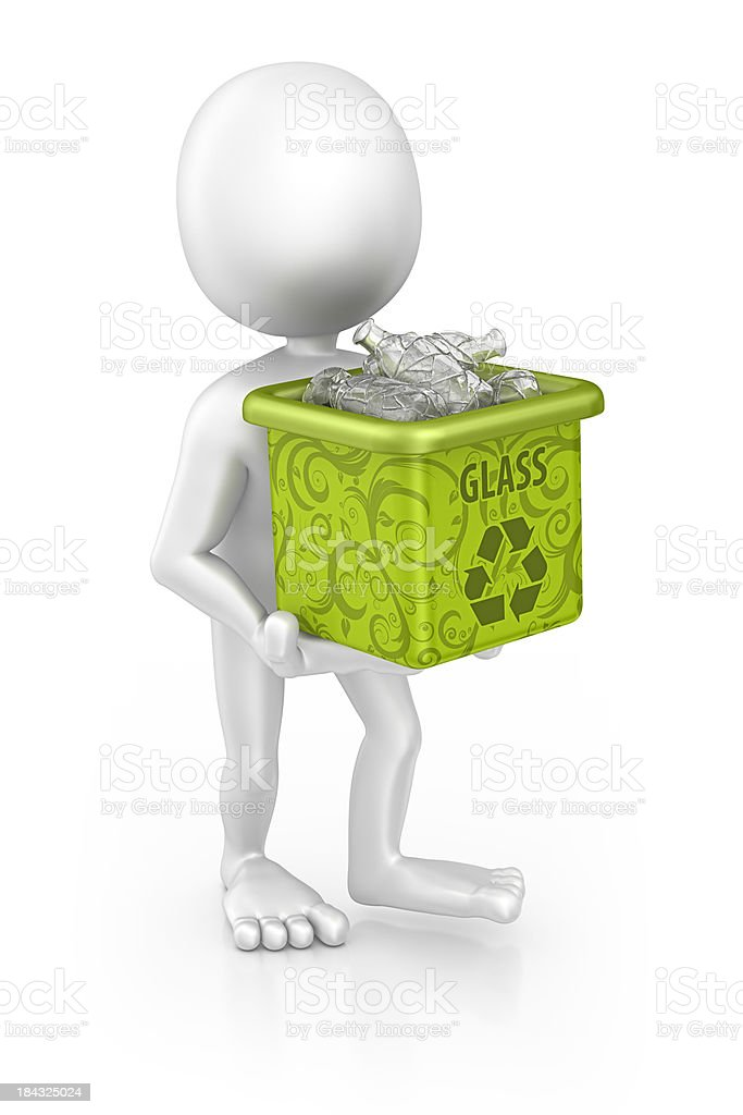 character holding recycling bin royalty-free stock photo