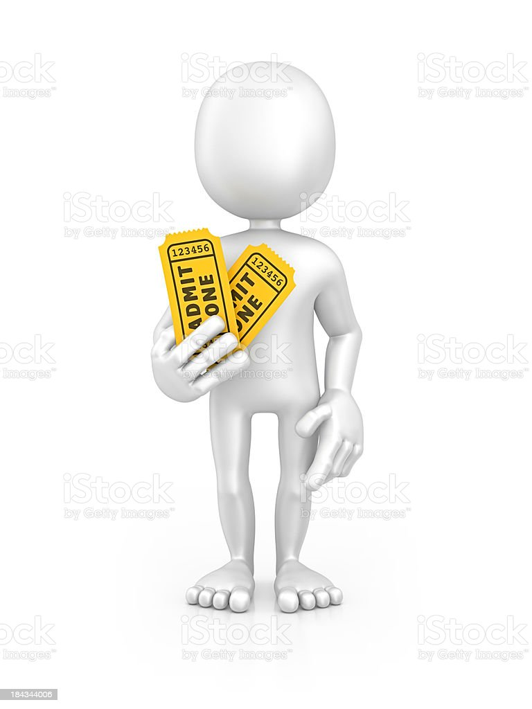 character holding tickets royalty-free stock photo