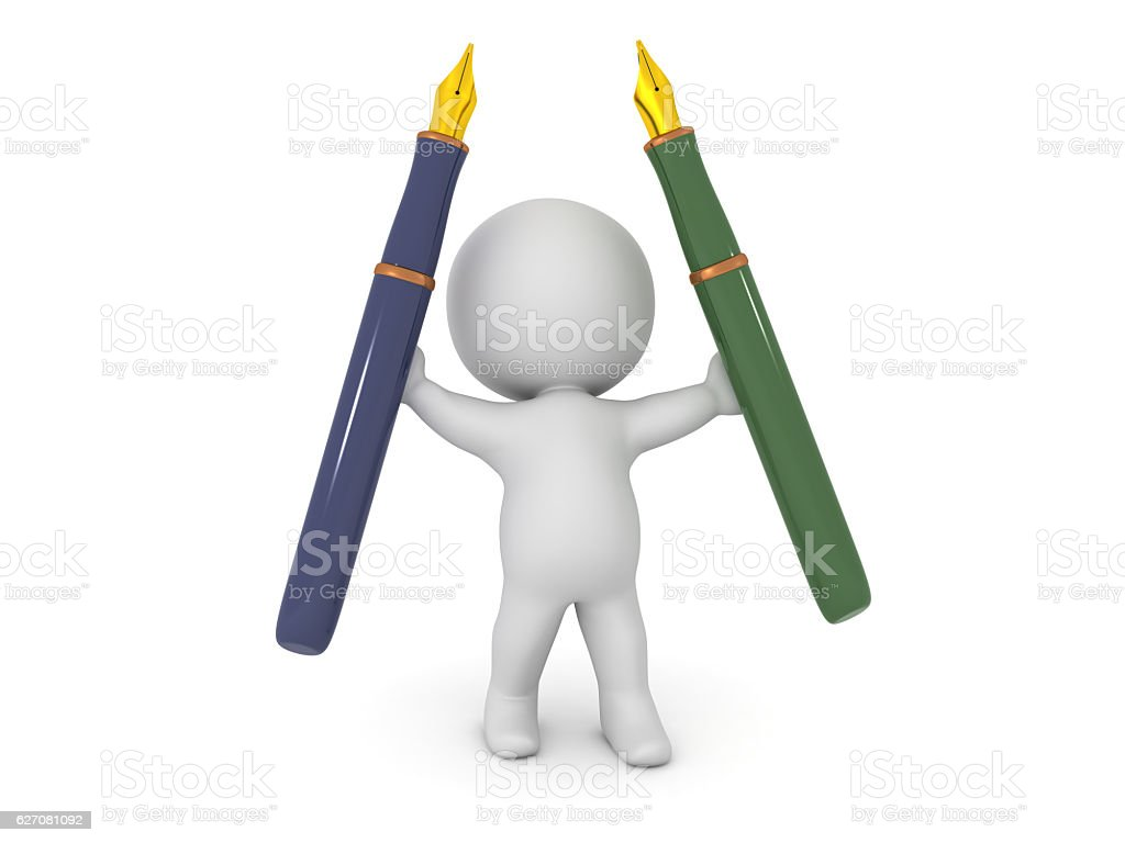 3D Character Holding Two Fountain Pens stock photo
