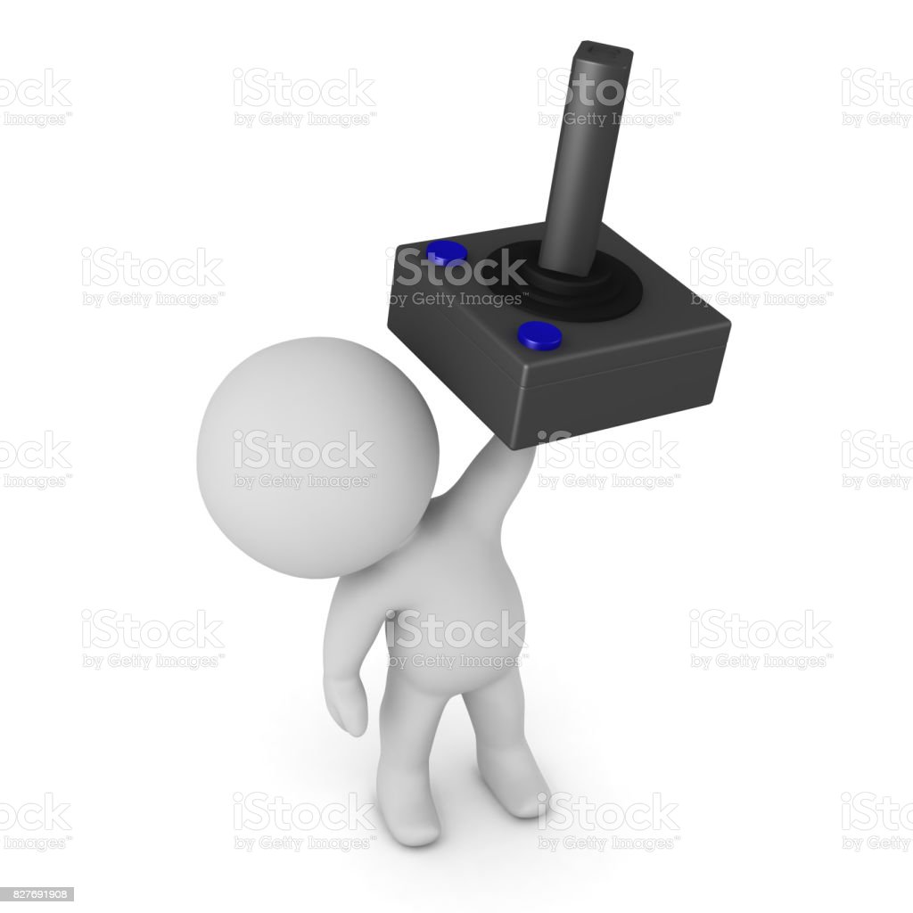 3D Character Holding Up a Video Game Joystick stock photo