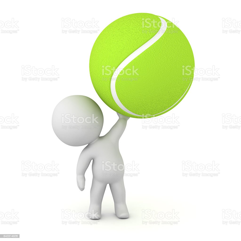 3D Character Holding Up Large Tennis Ball stock photo