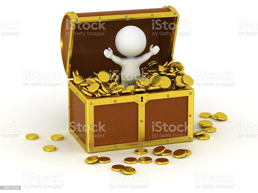 3D Character inside Treasure Chest with Gold Coins stock photo