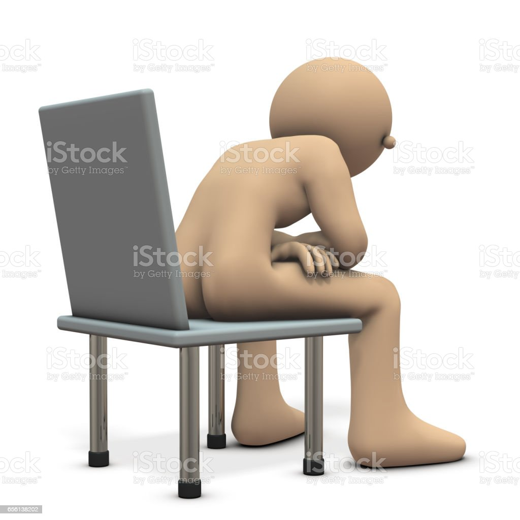 Character is telling something sitting on a chair. vector art illustration