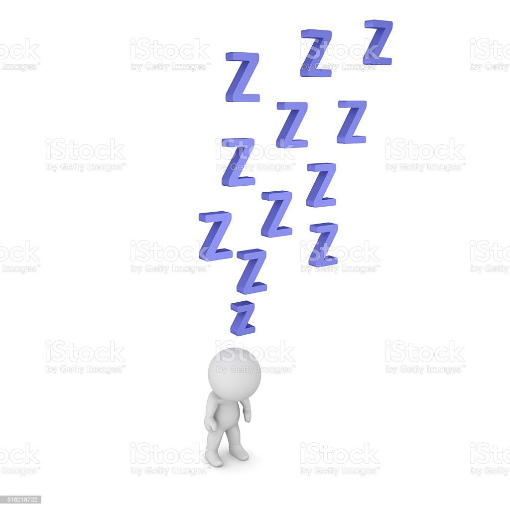 3D Character is Very Sleepy stock photo