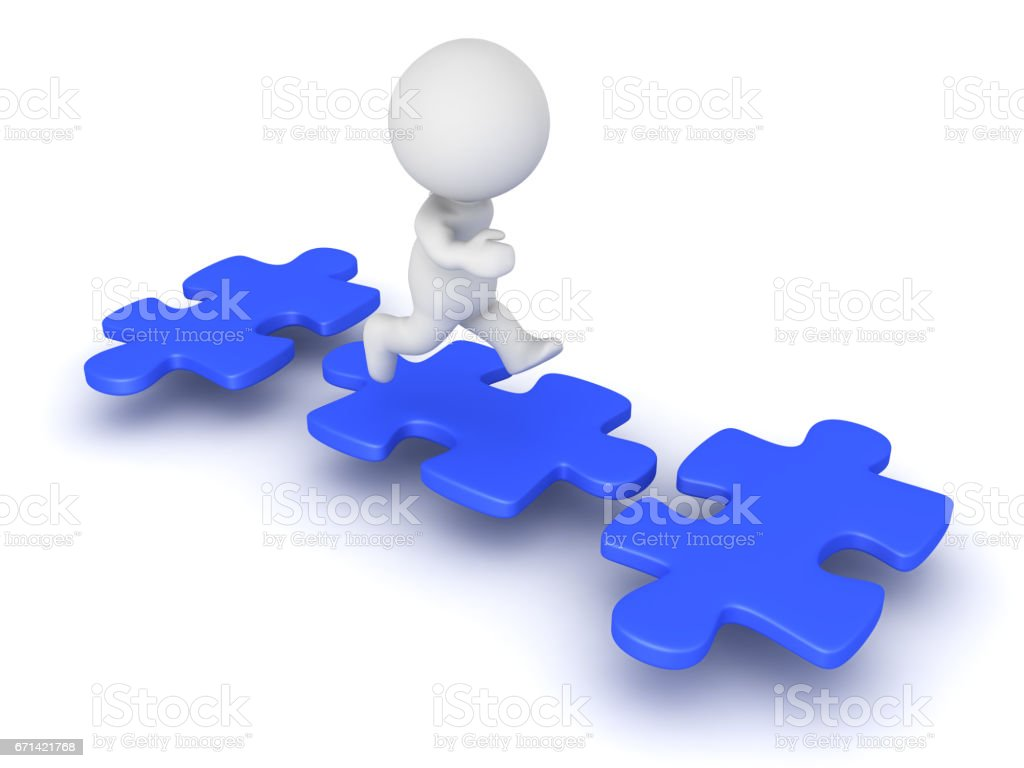3D Character jumping from puzzle piece to puzzle piece stock photo