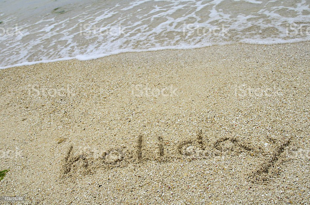 Character of sandy beach. (Holiday) royalty-free stock photo