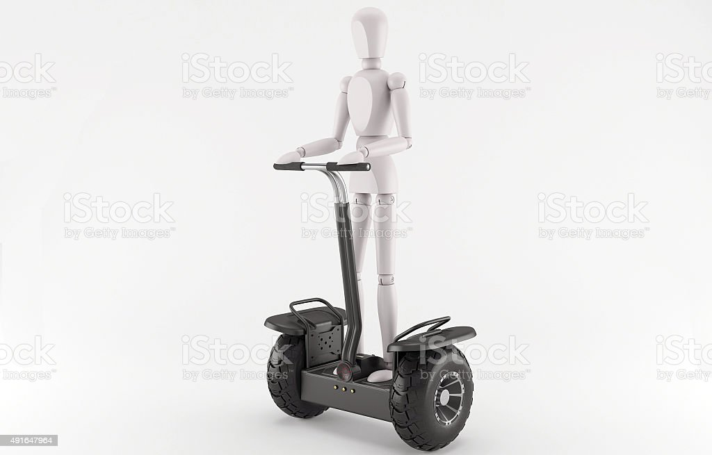 Character on modern ecological electric vehicle. stock photo
