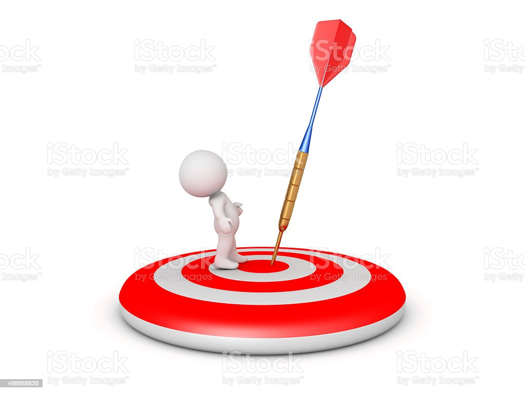 3D Character on Target with Dart Arrow close stock photo