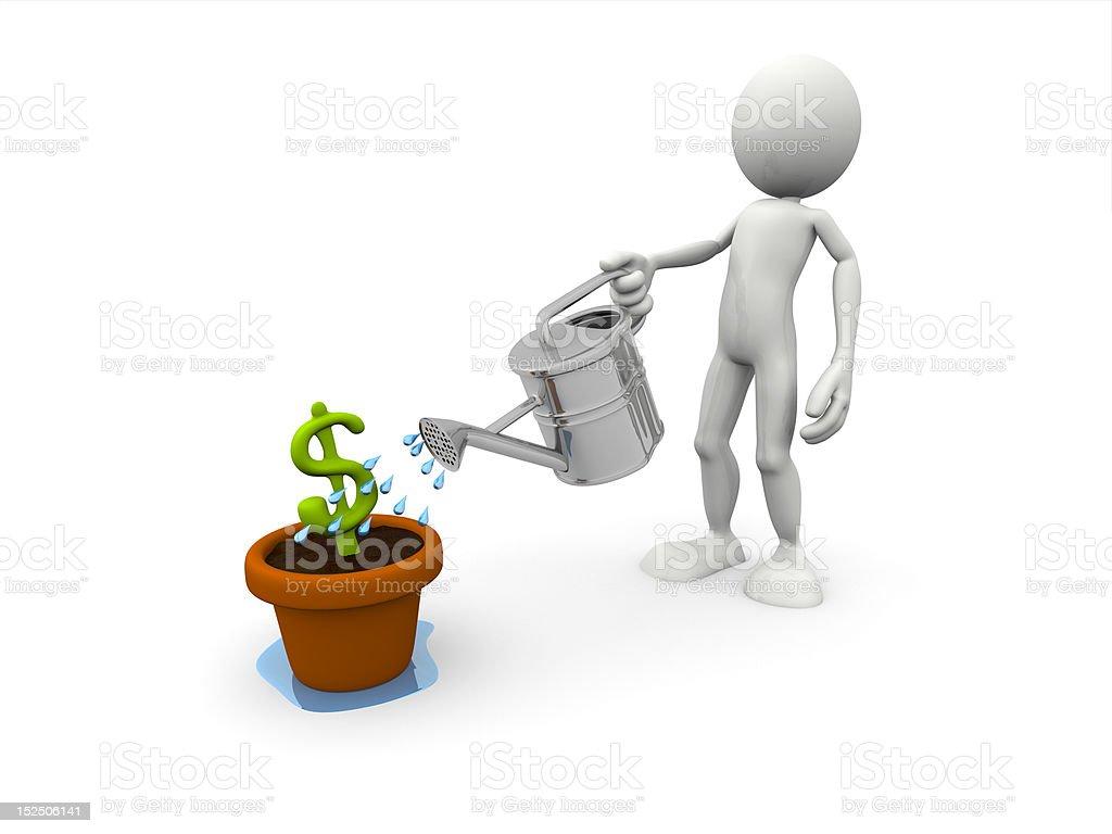 3 D carácter el vertido símbolo del dólar foto de stock libre de derechos