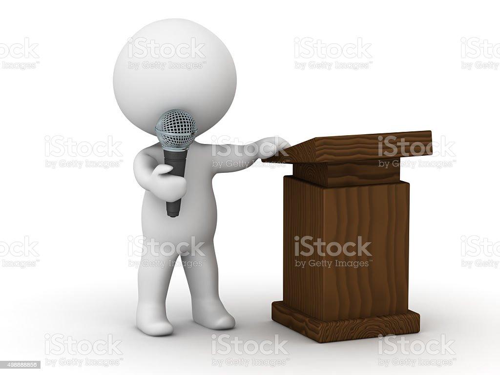 3D Character Public Speaker stock photo