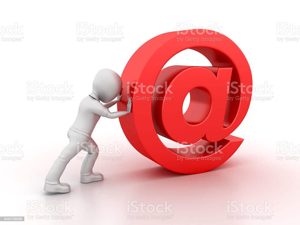 Character Pushing the Email stock photo