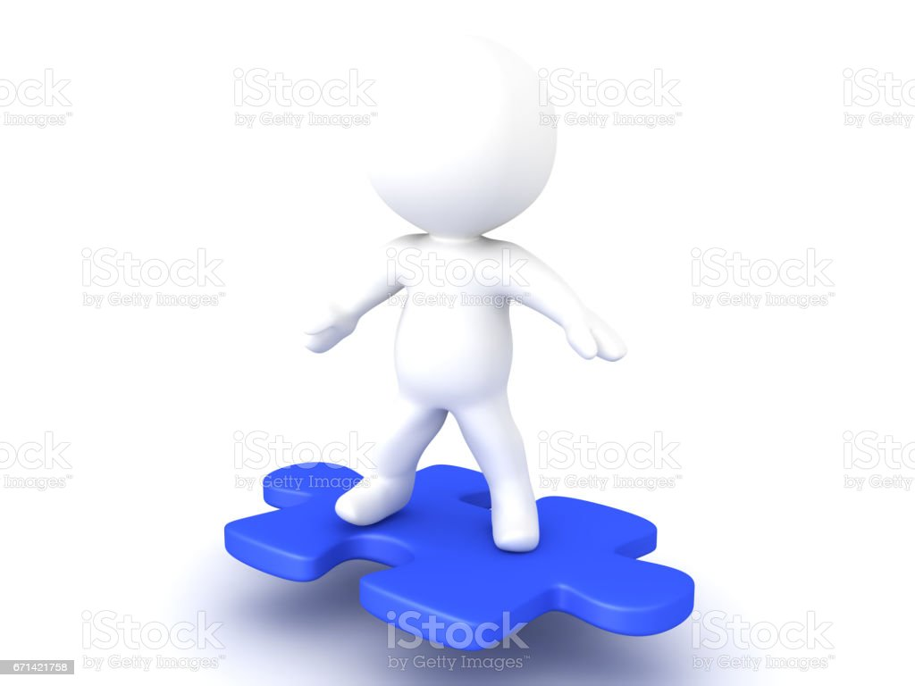 3D Character riding on flying puzzle piece stock photo