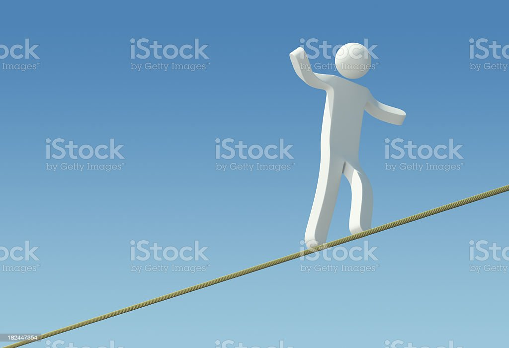 3D Character - Rope Walking royalty-free stock photo