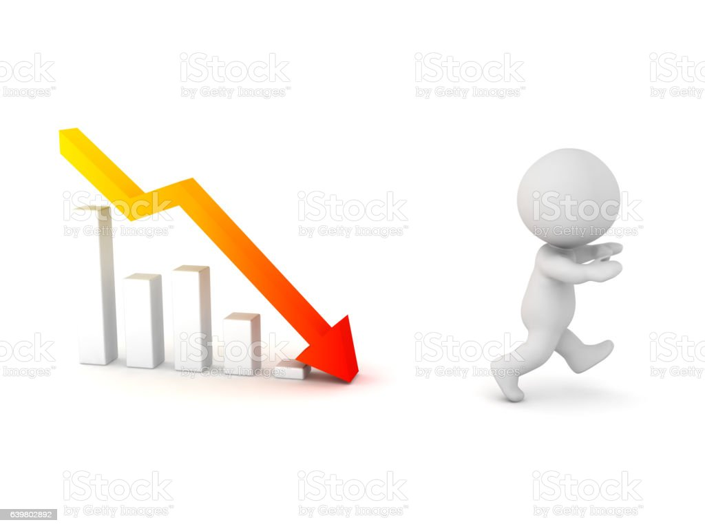3D Character Running Away from Bad Chart stock photo