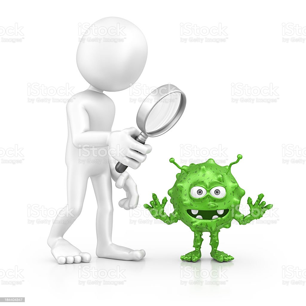 character searching bacterium stock photo