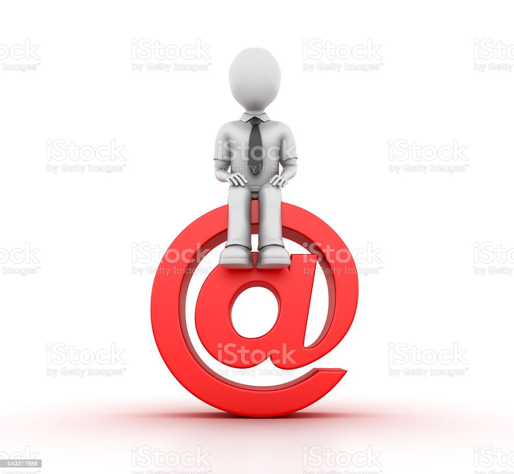 Character Seated on Email stock photo