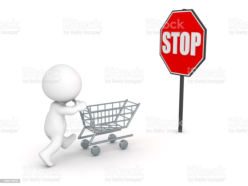 3D Character showing compulsive shopping concept stock photo