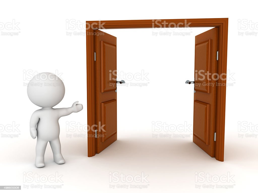 3D Character Showing Open Door stock photo
