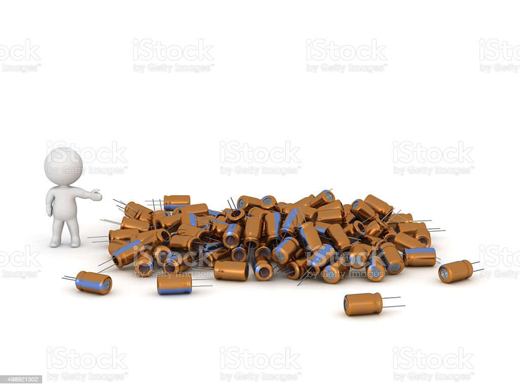 3D Character Showing Pile of Capacitors stock photo