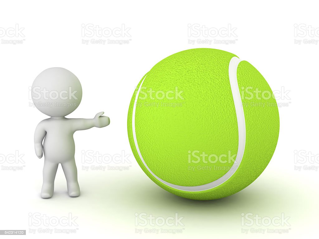 3D Character Showing Tennis Ball stock photo