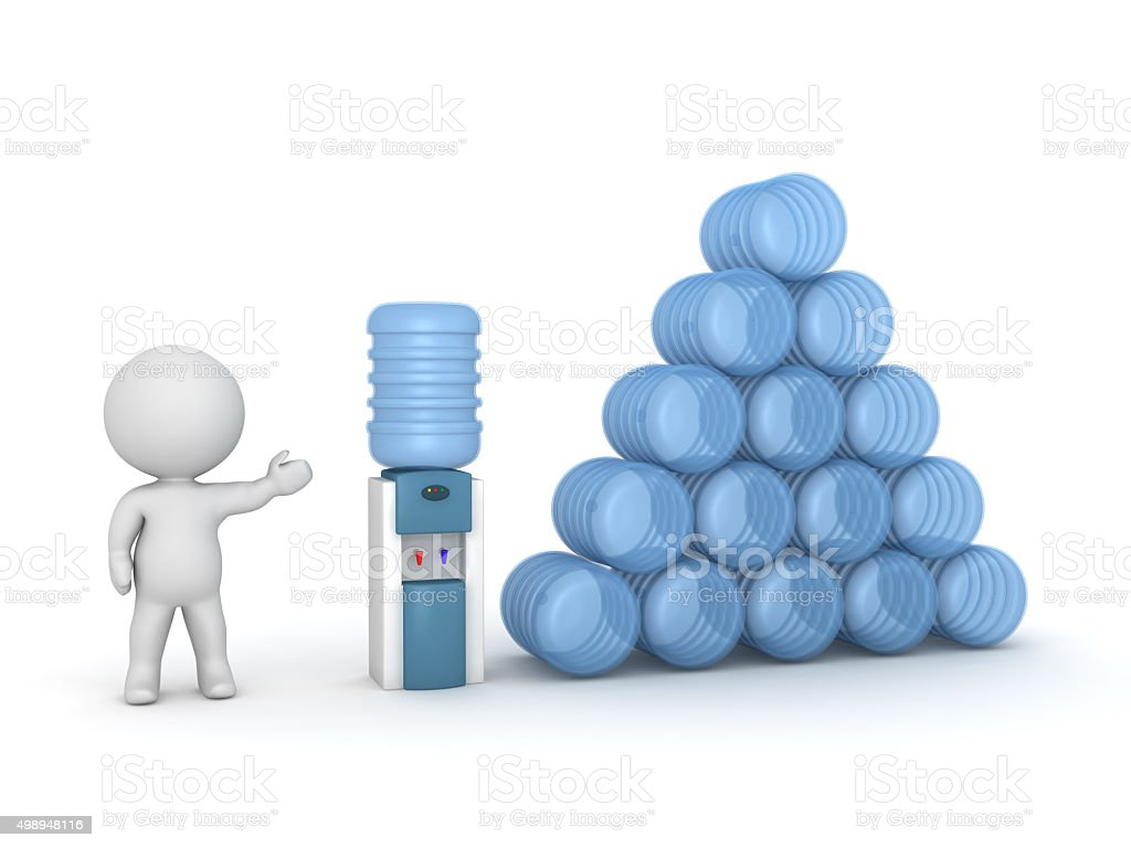3D Character Showing Watercooler and Supply of Water stock photo