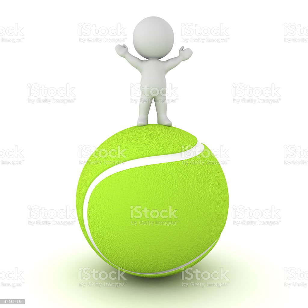 3D Character Standing on Large Tennis Ball stock photo