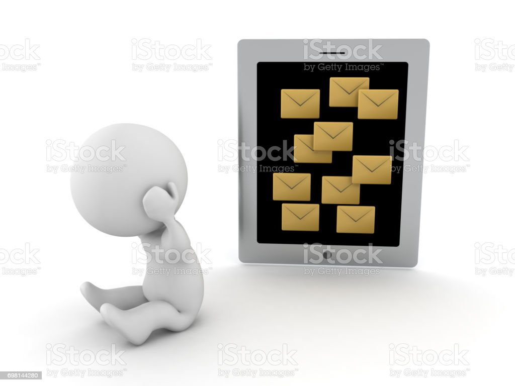 3D Character stressed out because of too many message notifications different arrangement stock photo