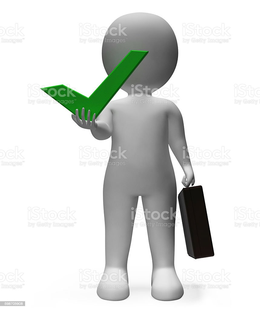 Character Success Shows Business Person And Affirmative 3d Rende stock photo