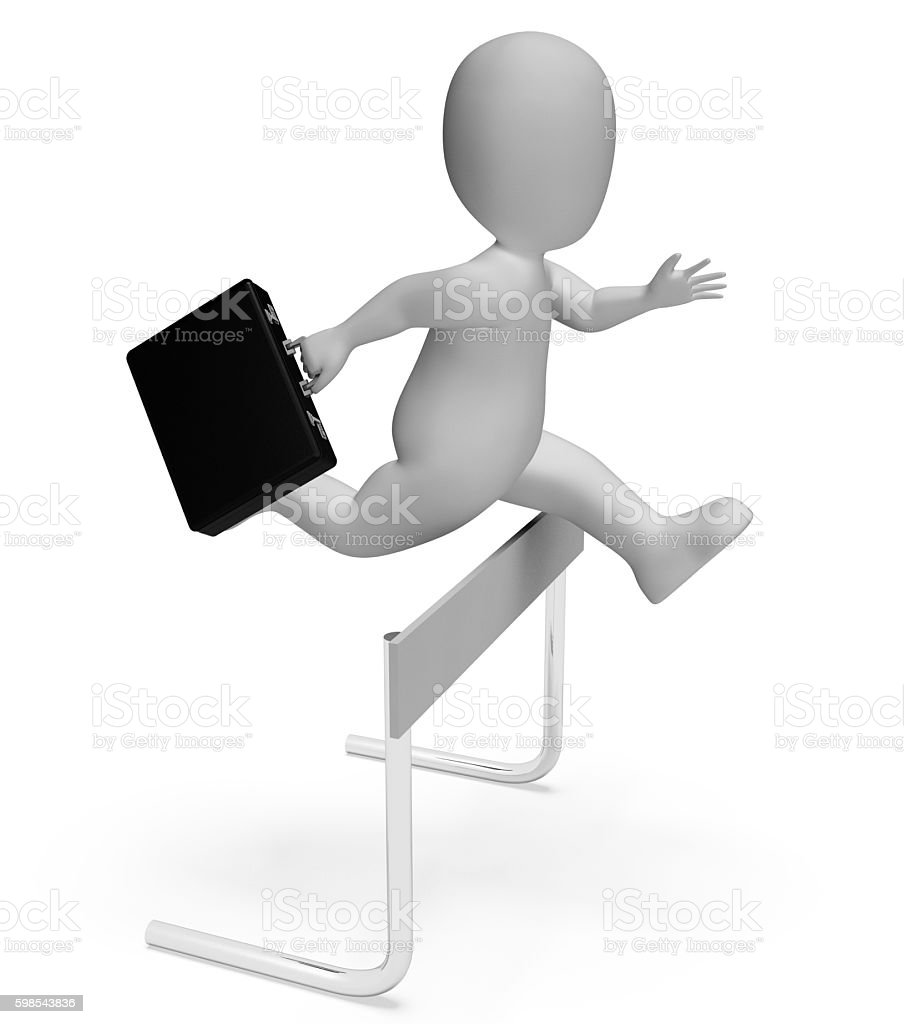 Character Win Shows Business Person And Achievement 3d Rendering stock photo