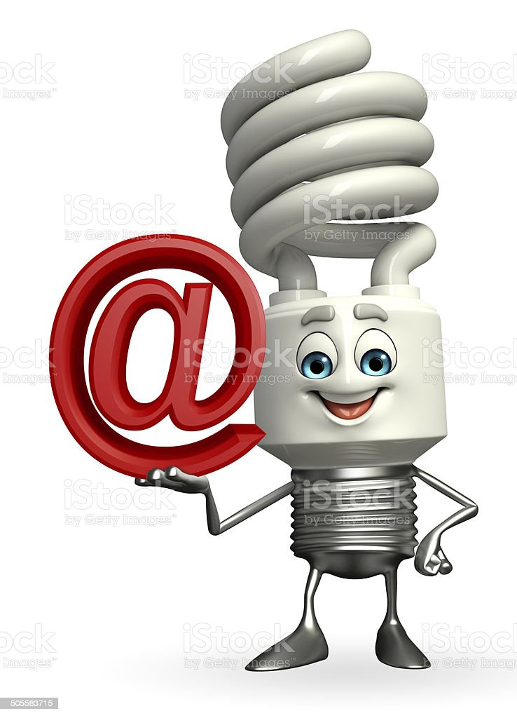 CFL Character with at the rate sign stock photo