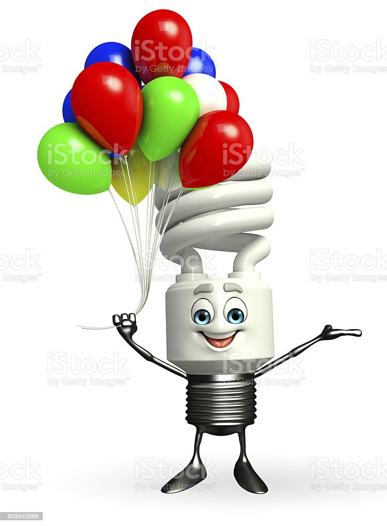 CFL Character with Balloons stock photo