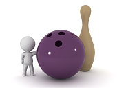 3D Character with Bowling Ball