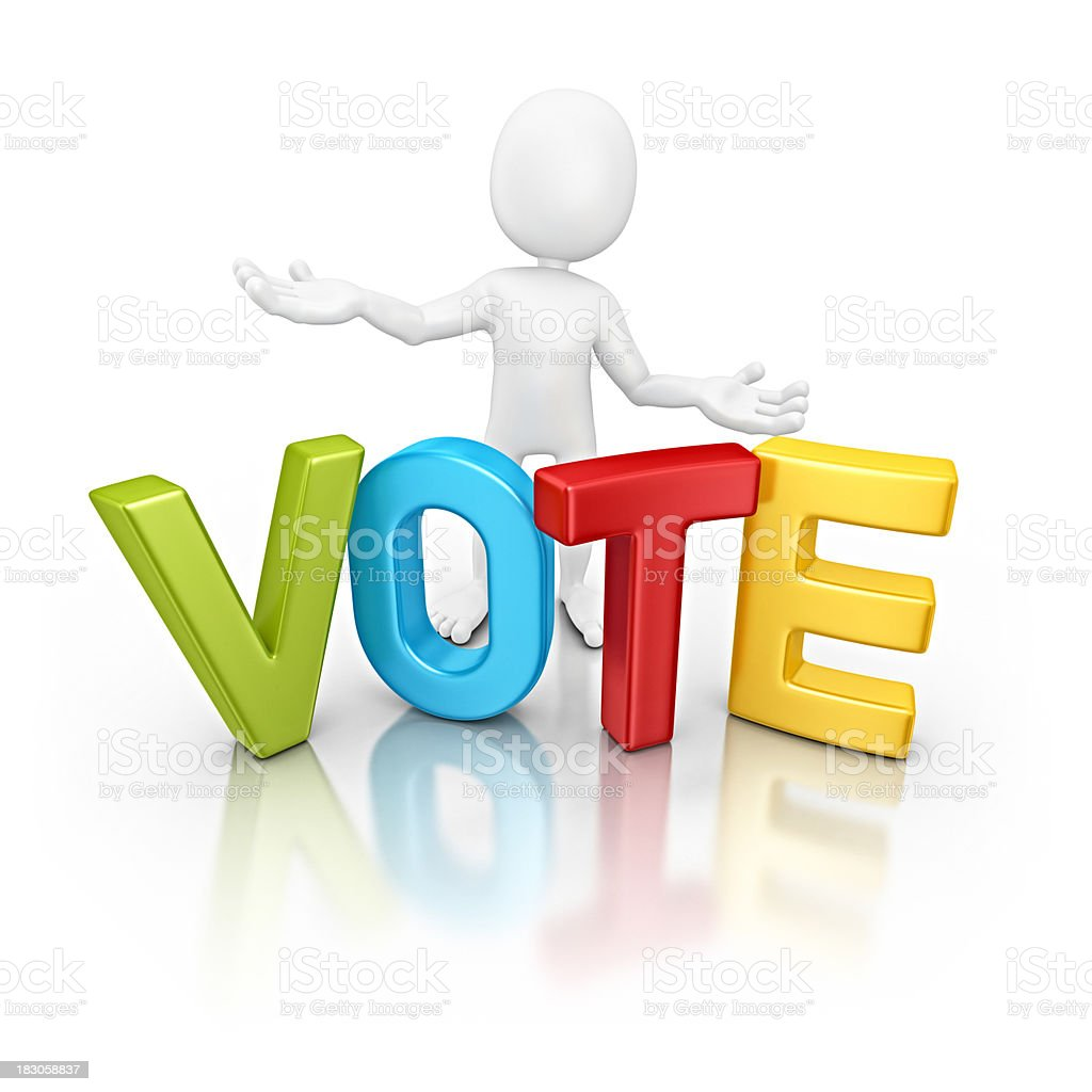 character with colorful vote royalty-free stock photo